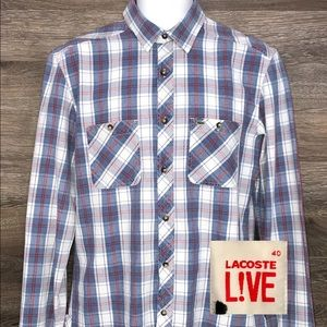 Lacoste Live Blue Plaid Long Sleeve Shirt 40 M